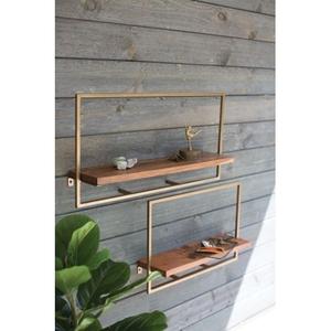 Square Iron With Mango Wood Shelves, Set of 2