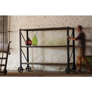 Giant Rustic Iron And Wood Rolling Shelving Unit