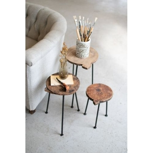 Set/3 Nesting Repurposed Wooden Chapati Boards W Iron Bases