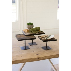 Recycled Wood Risers W Antique Black Metal Bases, Set of 3