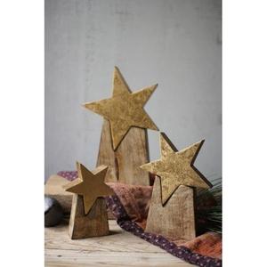 Wooden Star On Base, Set of 3