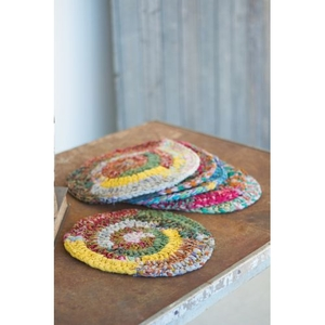 Round Knitted Kantha Placemats, Set of 6