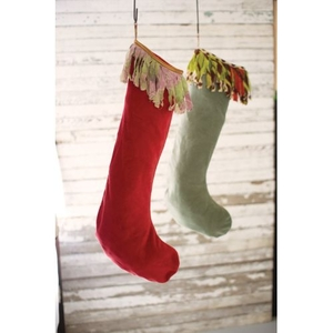 Velvet Stockings W Kantha Fringe - Red And Green, Set of 2