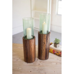 Recycled Wooden Pedestals With Glass Hurricanes, Set of 2