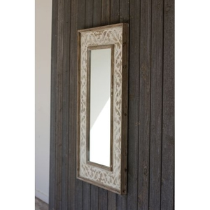 Wooden Framed Mirror With Fluer De Lis Detail