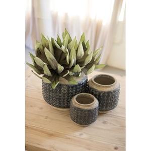 Dark Blue Knobby Ceramic Pots, Set of 3