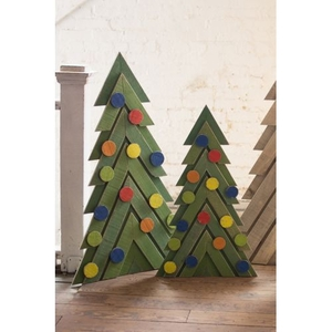 Green Wooden Christmas Trees, Set of 2