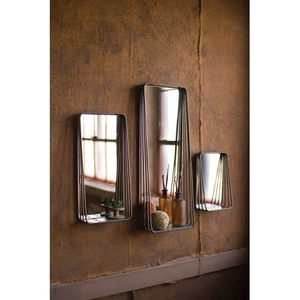 Tall Metal Framed Mirrors With Shelves, Set of 3