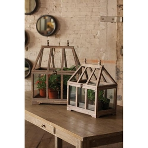 Wood And Glass Terrariums, Set of 2