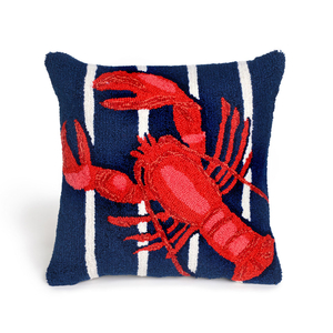 Lobster On Stripes Navy Indoor Outdoor Pillow