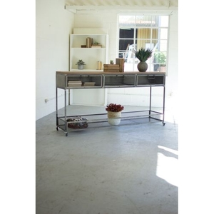 Rolling Metal Console W/ Wire Mesh Drawers and Wood Top
