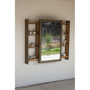 Shelf With Rolling Mirror Door