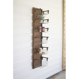 Recycled Wood and Metal Wall Rack W Six Wire Storage Baskets
