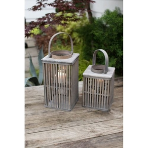 Square Bamboo Lanterns With Glass - Grey, Set of 2