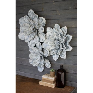 White-Washed Wall Flowers, Set of 3