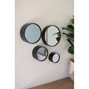 Round Metal Wall Mirrors - Antique Black, Set of 4