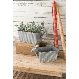 Metal Reindeer Planters, Set of 2