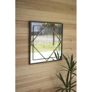 Metal Frame Mirror - Natural And Brass Finish