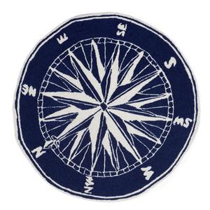Compass Navy Indoor Outdoor Round Rug