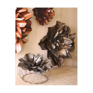 Metal Wall Flowers - Raw Finish, Set of 2