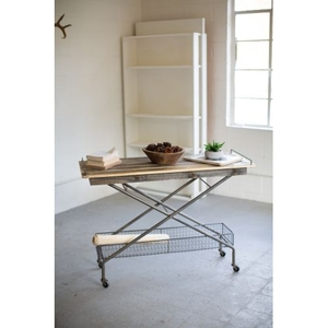 Recycled Wood Console Table W Metal Base Basket Casters