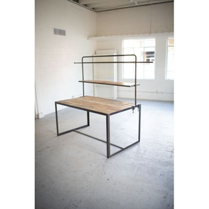 Iron And Recycled Wood Display Table