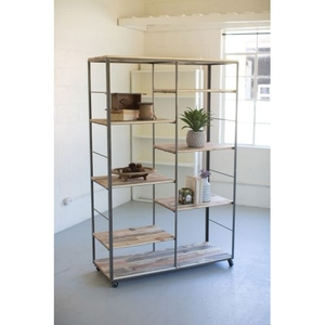 Recycled Wood And Metal Adjustable Shelving Unit