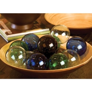 Recycled Glass Ball - Amber, Set of 6