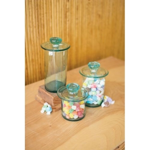 Recycled Glass Canisters - Clear, Set of 3