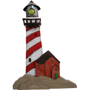 Lighthouse Red Wooden Plaque