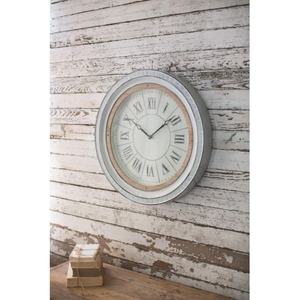 Enamelware Clock With Wood Detail #2