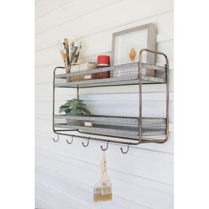 Double Wall Shelf With Coat Hooks