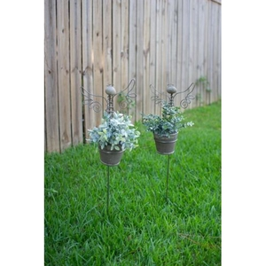 Angel Yard Stake With Clay Pot, Set of 2