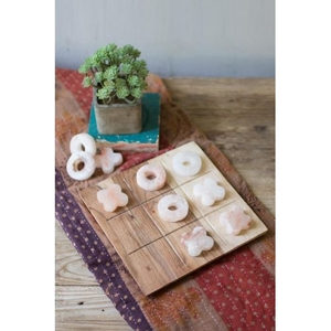 Himalayan Salt Tic-Tac-Toe With Acacia Wood Board