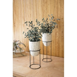 Terrazzo Planters Stands With Iron Stands #2, Set of 2
