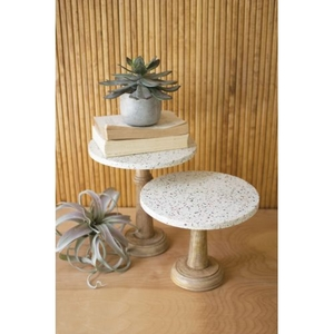 Terrazzo Pedestals With Wood Bases, Set of 2
