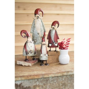 Galvanized And Painted Santas, Set of 4