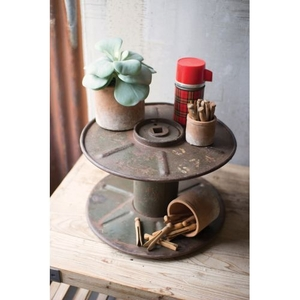 Reclaimed Iron Cable Spool Display Stand
