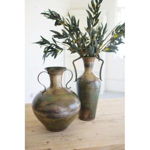 Tall Double Handle Metal Vase - Antique Verdigris