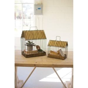 Wire Plant Holders - Antique Brass, Set of 2