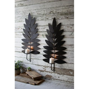 Iron Leaf Candle Sconces, Set of 2