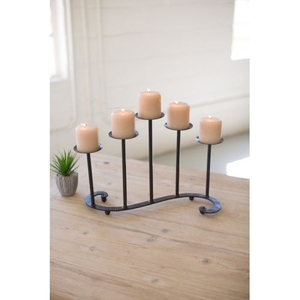 Forged Iron Table Top Candelabra - Antique Black