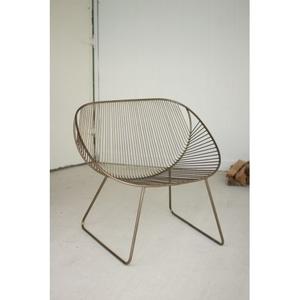 Antique Brass Metal Swoop Chair Set of 2
