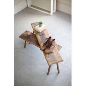Recycled Wooden Benches, Set of 2