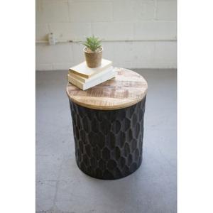Pressed Metal Side Table Mango Wood Top