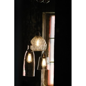 Glass Pend Lamp W Brushed Silver Cap And Canopy-8X10.5