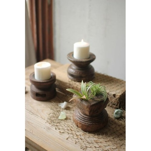 Hand Carved Wooden Seed Spreader Candle Holders, Set of 3