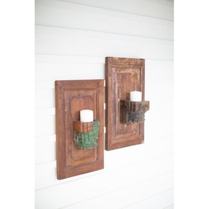 Repurposed Wooden Wall Panel With Candle Holder