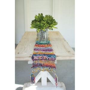 Knitted Kantha Runner W/Tassels