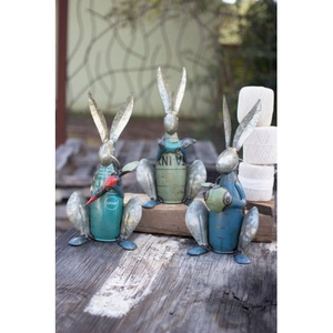 Recycled Metal Rabbits, Set of 3